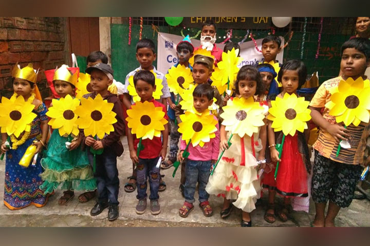 Childrens Day Sun Flower making activity in ARISE Schools